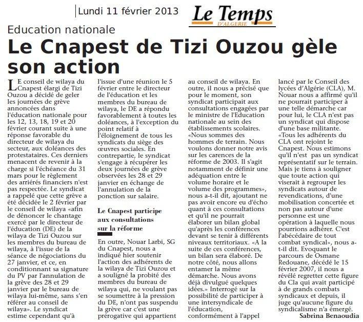 Le Temps d'Algérie : Le CNAPEST de Tizi Ouzou gèle son action dans Articles Presse le-temps-dalgerie-gel-greve-12