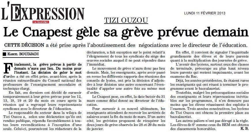 L'Expréssion : Tizi Ouzou, Le CNAPEST gèle sa grève dans Articles Presse lexpression-gel-de-la-greve12